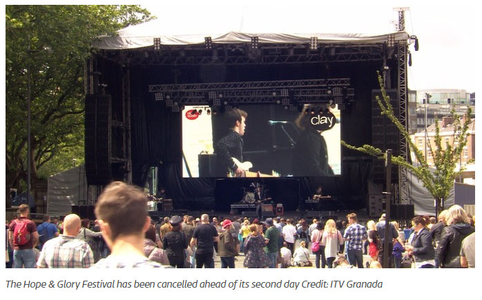 Screengrab from the ITV website about Liverpool's Hope & Glory Festival being cancelled