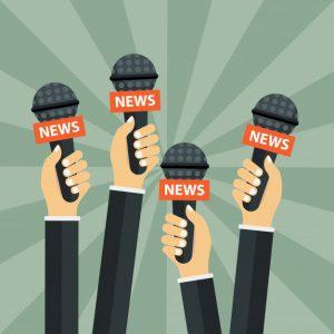 Graphic of microphones in reporters hands