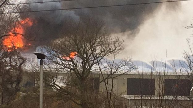 Chester Zoo buidling on fire