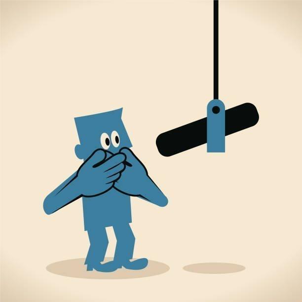 Cartoon man & microphone..Vector art illustration